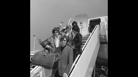 The Rolling Stones leave London on a flight to New York on June 23, 1966. It was before the start of their fifth North American tour.