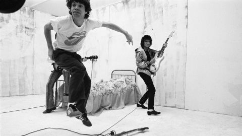 """The Stones film a music video for the song """"Respectable"""" in 1978."""