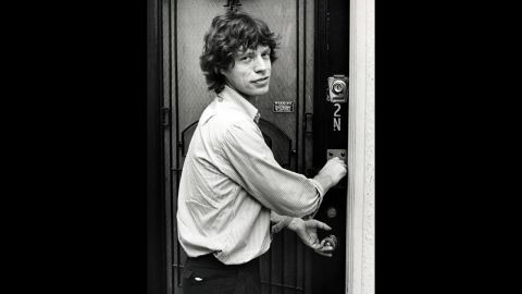 Jagger returns to his New York apartment after attending a Jimmy Cliff show in 1981.