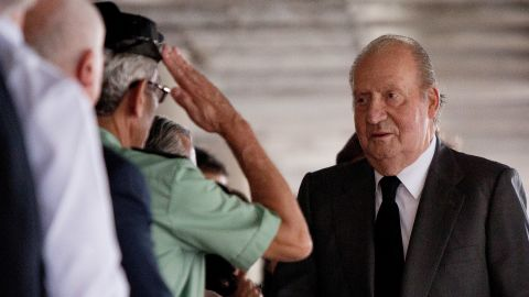 King Juan Carlos of Spain attends Clinico Hospital after a train crash killed at least 80 people on July 25, 2013 in Santiago de Compostela, Spain.