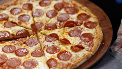 A common feature of Western diets is processed fast food. Here's a pepperoni pizza high in fat and carbohydrates and topped with cured, processed meat.