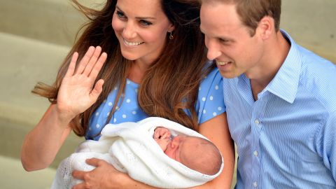 The Duke and Duchess and their newborn son depart St. Mary's Hospital in London in July 2013.