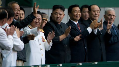 North Korean leader Kim Jong-Un applauds prior to an 'Arrirang Festival mass games display' at the 150,000-seat Rungnado May Day Stadium in Pyongyang on Friday, July 26.