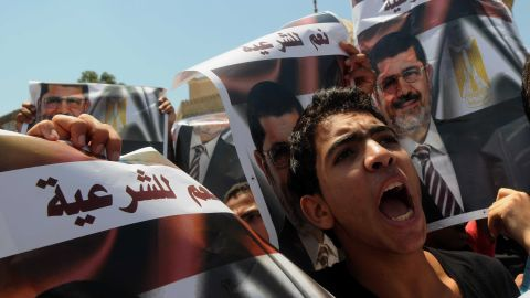 Supporters of Morsy rally in Giza, on Friday, July 26.