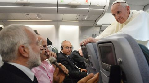 """Pope Francis makes some <a href=""""http://religion.blogs.cnn.com/2013/07/29/pope-francis-on-gays-who-am-i-to-judge/"""">unexpected comments on issues facing the Roman Catholic Church</a> on Monday, July 29. He spoke on the record to journalists on a flight back back to Italy from Brazil after finishing his first international trip as pontiff. Among the topics he addressed were homosexuality, the church's alleged """"gay lobby,"""" the role of women, abortion, divorce and the Vatican Bank."""