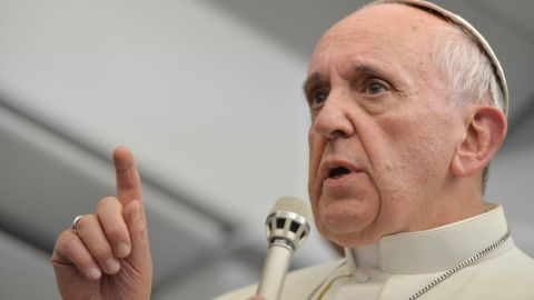 """On the flight, Francis said he will not """"judge"""" gay priests, a huge shift from his predecessor, Pope Emeritus Benedict XVI, who sought to bar men with """"homosexual tendencies."""" """"If someone is gay and he searches for the Lord and has good will, who am I to judge?"""" Francis said."""