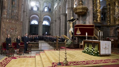 """Spain's Princess Elena, left, Princess Letizia and Prince Felipe attend <a href=""""http://www.cnn.com/2013/07/29/world/europe/spain-train-crash/index.html"""">a funeral Mass for the victims of a train</a> derailment at a cathedral in Santiago de Compostela on Monday July 29. At least 79 people have been confirmed dead in the July 24 crash in northwest Spain."""