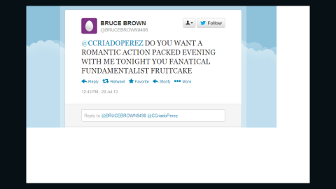 This tweet was sent to Caroline Criado-Perez after her successful campaign to honor a woman on British currency.