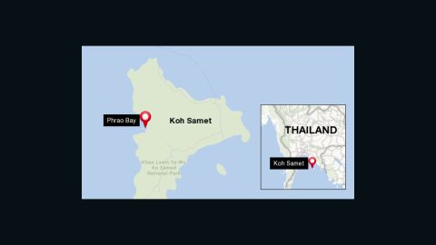The oil spill has effectively closed Phrao Bay.