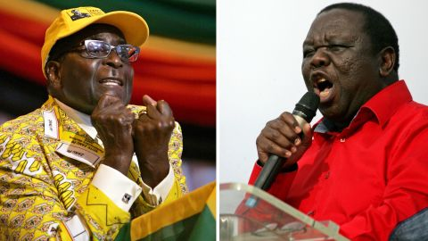 """This combination of two recent pictures taken in Zimbabwe shows (at L) Zimbabwe's president and leader of the Zimbabwe African National Union -Patriotic Front (ZANU-PF) Robert Mugabe, and (at R) Zimbabwe's Prime Minister and Movement for Democratic Change (MDC) leader Morgan Tsvangirai. Zimbabwean Prime Minister Morgan Tsvangirai on July 27, 2013 warned President Robert Mugabe not to """"steal"""" a crunch vote next week, so that his veteran rival could exit office with dignity. """"Mugabe stole an election in 2002, he stole the election in 2008. This time we want to tell him that he will not steal again, """" Tsvangirai said to thousands of supporters. AFP PHOTO / JEKESAI NJIKIZANAJEKESAI NJIKIZANA/AFP/Getty Images"""