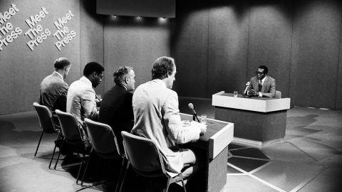 "From left, NBC News moderator Bill Monroe, Newsday's Les Payne, the Chicago Sun Times' Robert Novak and NBC News' Garrick Utley speak with Mugabe during an episode of ""Meet the Press"" in 1980."