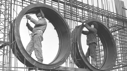Laborers work on construction of the Soviet Union's Chernobyl nuclear power plant on July 1, 1975. The Chernobyl accident is the world's worst nuclear accident. The disaster sent a cloud of radioactive fallout over hundreds of thousands of square miles of Russia, Belarus and Ukraine. The radioactive effects of the explosion were about 400 times more potent than the bomb dropped on Hiroshima during World War II.