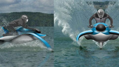 This watercraft concept glides above the water's surface with two hydrofoils that act as wings, which allows it to go much faster than a traditional skiers.