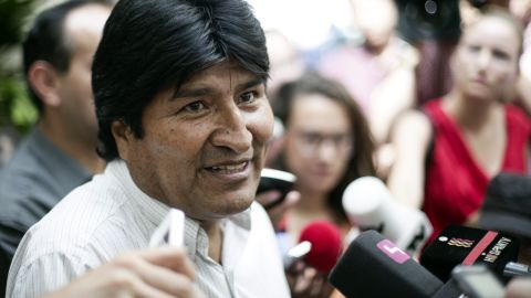 """Bolivian President Evo Morales holds a news conference at the Vienna International Airport on July 3. He angrily denied any wrongdoing after his plane was diverted to Vienna and said that Bolivia is willing to give <a href=""""http://www.cnn.com/2013/07/06/world/snowden-asylum-options/index.html"""">asylum to Snowden</a>, as """"fair protest"""" after four European countries restricted his plane from flying back from Moscow to La Paz."""