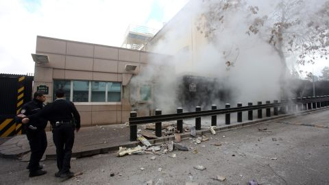 """A suicide bomb goes off at the <a href=""""http://www.cnn.com/2013/02/01/world/europe/turkey-embassy-explosion/index.html"""">U.S. Embassy in Ankara, Turkey,</a> on February 1. A security guard was killed and a journalist was wounded in the attack. The Revolutionary People's Liberation Party-Front, or DHKP-C, took responsibility for the bombing."""