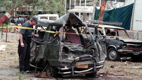 """A previously unknown militant group called Al-Qanoon claimed responsibility for a bombing that killed 10 people at the <a href=""""http://archives.cnn.com/2002/WORLD/asiapcf/south/06/14/karachi.blast/index.html"""">U.S. Consulate in Karachi, Pakistan,</a> on June 14, 2002. The U.S. State Department says it suspects al Qaeda is responsible."""