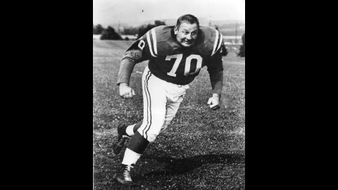 """Baltimore Colts defensive tackle <a href=""""http://www.cnn.com/2013/08/05/us/art-donovan-death/index.html?hpt=hp_t2"""">Art Donovan</a>, a charismatic player who was elected to the Pro Football Hall of Fame in 1968, died Sunday, August 4. He was 88."""