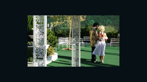 """""""Elvis"""" and """"Marilyn"""" tie the knot at <a href=""""http://www.alittlewhitechapel.com/"""" target=""""_blank"""" target=""""_blank"""">A Little White Wedding Chapel</a> in Las Vegas."""