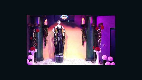 """Theater-quality lights, sound and fog machines bedeck the altar, stage crafted after KISS's """"Love Gun"""" album cover. And yes, you can have your ceremony performed by a Gene Simmons lookalike."""