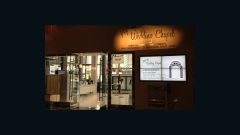 """Not quite ready to legally commit? That's OK -- while the <a href=""""http://www.cosmopolitanlasvegas.com/explore/popupweddingchapel.aspx"""" target=""""_blank"""" target=""""_blank"""">Pop-Up Wedding Chapel</a> in the Cosmopolitan hotel and casino can perform official ceremonies, they also specialize in friend-to-friend, owner-to-pet, and in one notable case, groomsman-to-escort ceremonies."""