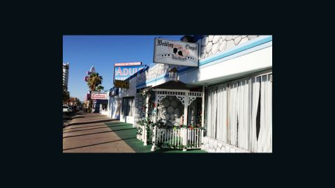 """At the other end of the strip, family-owned and operated <a href=""""http://www.sweetheartschapel.com/"""" target=""""_blank"""" target=""""_blank"""">Sweethearts Wedding Chapel</a> has helped happy couples tie the knot since 1992."""