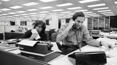 Washington Post reporters Carl Bernstein, left, and Bob Woodward broke stories about the President Richard Nixon administration's cover-up after the June 1972 break-in at the Democratic National Committee headquarters. The coverage earned the Post a Pulitzer Price and sparked a congressional investigation that eventually led to Nixon's resignation in 1974.