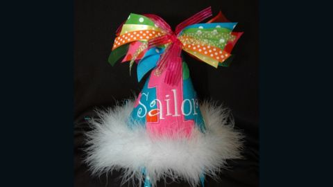 Heather says the personalization, as seen in this party hat, is key to her store's success.