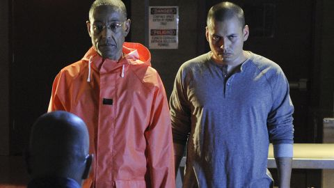 Drug lord Gus Fring (Giancarlo Esposito, left), livid over an act of betrayal by Walt and Jesse, sends a brutal message in this soon-to-be bloody scene from Season 4.