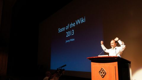 """Jimmy Wales told the """"Wikimania"""" conference that Wikipedia now has 8 languages with over 1 million articles."""