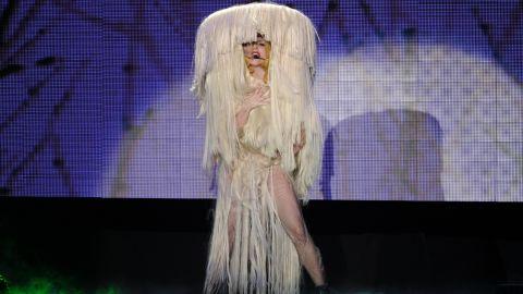Lady Gaga performs onstage in 2010 at Palais Omnisports de Paris-Bercy in Paris.