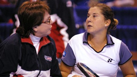 King, in her role as captain of the United States Fed Cup team, gives a pep talk to Monica Seles during a 2000 tie against Belgium. She led the U.S. to four titles during her reign and was handed the Fed Cup Award of Excellence in 2010.