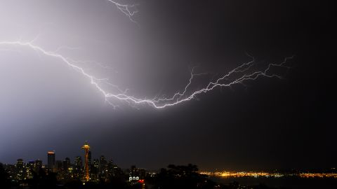 """When Seattle was pummeled with a severe electrical storm in August 2013, """"all of us photographers stood and watched in amazement,"""" said <a href=""""http://ireport.cnn.com/docs/DOC-1018445"""">Tim Durkan. </a>He took this photo from Kerry Park in the Queen Anne neighborhood."""