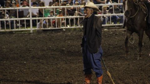 An apology was given after a rodeo clown made fun of President Obama during a show Saturday at the Missouri State Fair.