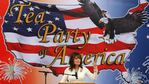 Former Alaska Gov. Sarah Palin speaks to a tea party crowd in Iowa in 2011.