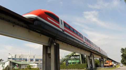 The new maglev train Transrapid TR 09 pictured on the test track in Lathen, Germany in 2008, hits a top speed of 279 mph.