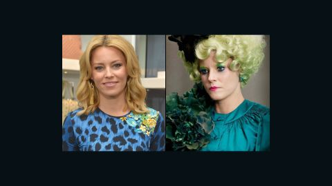 """Elizabeth Banks' comedic timing is as sharp as ever in """"The Hunger Games,"""" but her makeup job is a far cry from how we're used to seeing her."""