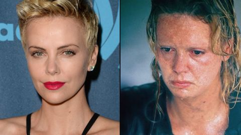 """Charlize Theron gained about 30 pounds and wore crooked prosthetic teeth for her transformation into serial killer Aileen Wuornos in 2003's """"Monster."""" She won a best actress Oscar."""