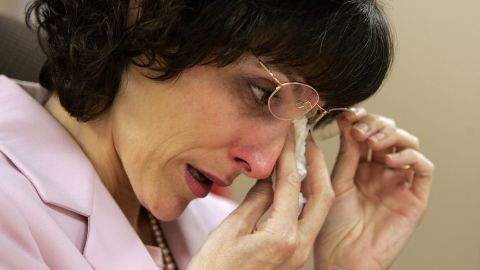 Medicinal marijuana patient Angel Raich wipes her eyes during a press conference on March 14, 2007, in Oakland, California. The 9th circuit U.S. Court of Appeals in San Francisco ruled that 41-year-old Raich, who used medicinal marijuana to curb pain from a brain tumor as well as other ailments, did not have the legal right to claim medical necessity to avoid the possibility of prosecution under federal drug laws.