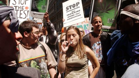 """People in New York gather for a pro-cannabis rally on May 4, 2002. That same day, almost 200 similar events took place around the world to advocate for marijuana legalization. It was dubbed the """"Million Marijuana March."""""""