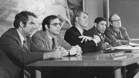 Panel members of the National Commission on Marijuana and Drug Abuse attend a hearing In Denver on January 10, 1972. From left, Dr. J. Thomas Ungerleider, psychiatrist; Michael R. Sonnenreich, commission executive director; Raymond P. Shafer, commission chairman; Mitchell Ware, Chicago attorney; Charles O. Galvin, Dallas law school dean. The commission's findings favored ending marijuana prohibition and adopting other methods to discourage use, but the Nixon administration refused to implement its recommendations.