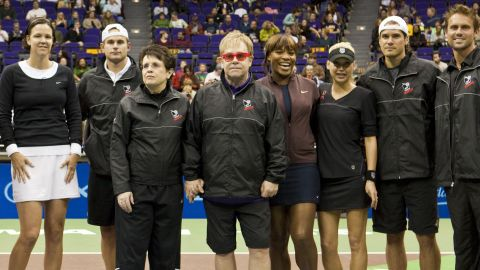 King, along with ex-husband Larry, set up World Team Tennis, a professional league with a team format, in 1973. Here she is joined by a cast of players present and past at a charity day -- including Lindsay Davenport, Andy Roddick, Serena Williams, Anna Kournikova, Tommy Haas and Jan-Michael Gambill -- as well as pop star Elton John.