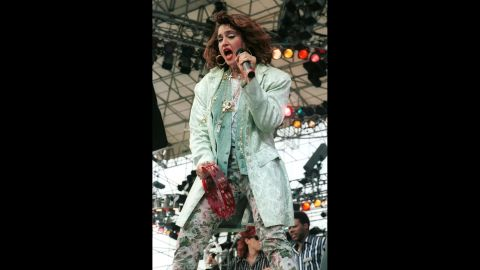 The Material Girl performs to a sold-out crowd during the Live Aid concert in Philadelphia on July 13, 1985.