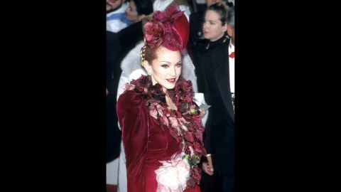 """Madonna attends the """"Evita"""" premiere in Los Angeles on December 14, 1996."""
