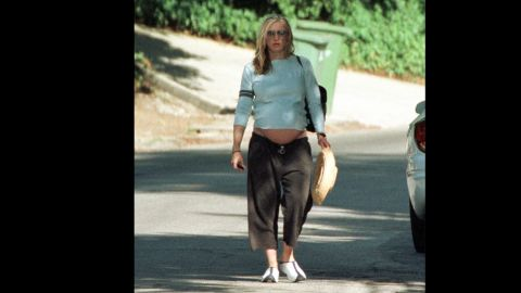 Pregnant with her second child, Rocco, Madonna walks to her car on August 11, 2000, in Hollywood Hills, California.
