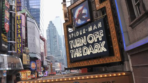 """Foxwoods Theatre' marquee of """"Spider-Man Turn Off The Dark"""" in 2012 in New York City."""