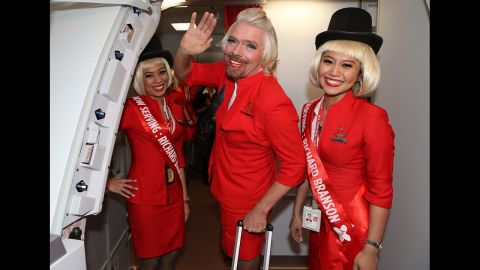 Virgin Group founder Richard Branson is a well-known flight and space enthusiast. Here he is dressed up as a female flight attendant after losing a bet  to AirAsia Group Chief Executive Officer Tony Fernandez.