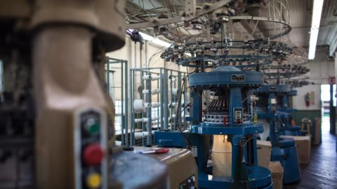 """Mohnton Knitting Mills has its own knitting factory where it turns combed cotton ring-spun yarn into thermal cloth, waffle stitch cloth and jersey cloth on circular knitting machines. """"We're good at what we do,"""" says Gary Pleam, fifth-generation owner of the mill."""