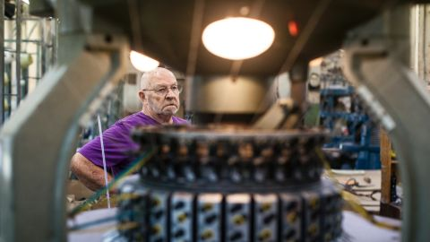 Dick Raihl has worked on and off for Mohnton Knitting Mills since the 1960s. He oversees the knitting factory. After the fabric is knitted, it goes to an independent processing company about 30 minutes away, in Shoemakersville, to be washed and scoured.
