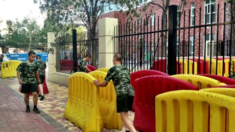 Security barriers are put in place on August 21 outside the courthouse.