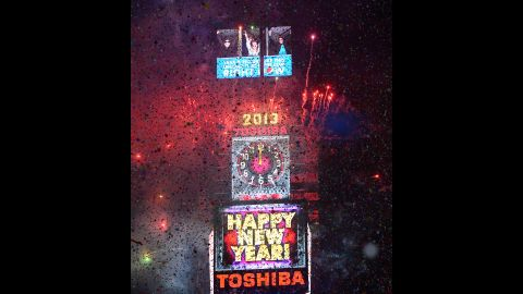 A million people cheered in Times Square in New York on December 31, 2012, as the clock moved toward midnight and the traditional crystal ball dropped.